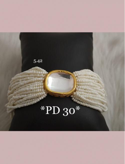 Golden Kundan and Beads Bracelet