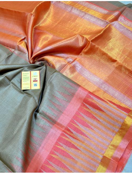 Anamika Grey With Golden Orange Border I...