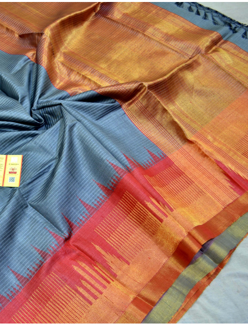 Ambika Grey With Golden Border Intricate...