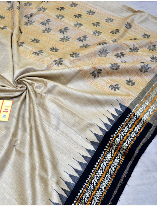 Anagha Cream With Black Border Intricate...