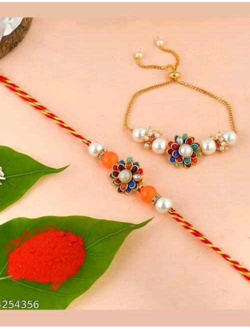 Beautiful Kundan and beads orangr rakhi ...