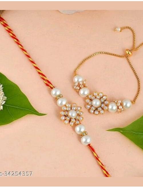 Beautiful Kundan and beads white rakhi a...
