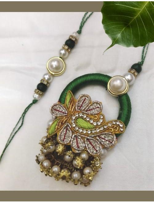 Beads and zardozi rakhi and loomba