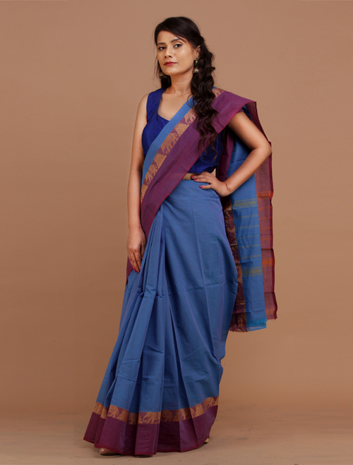Blue Chettinad Cotton Saree
