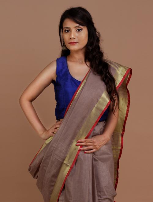 Brown Cotton Blend Linen Saree