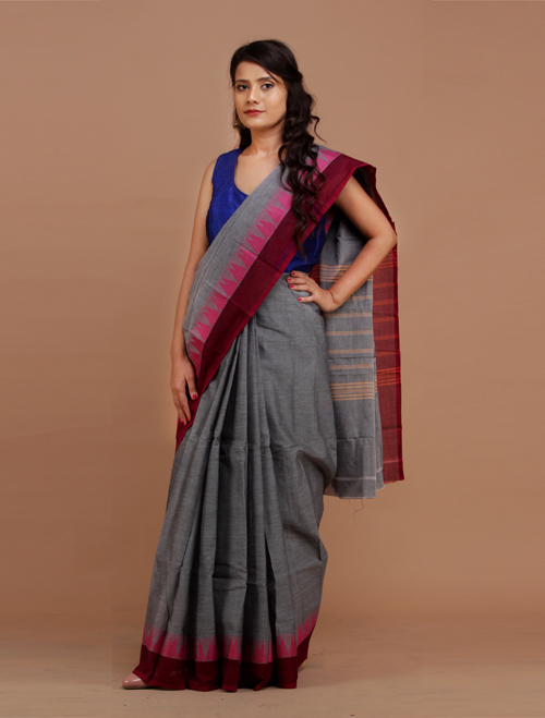 Grey Chettinad Cotton Saree