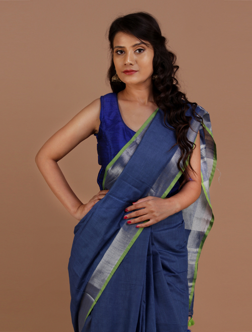 Dark Blue Cotton Blend Linen Saree