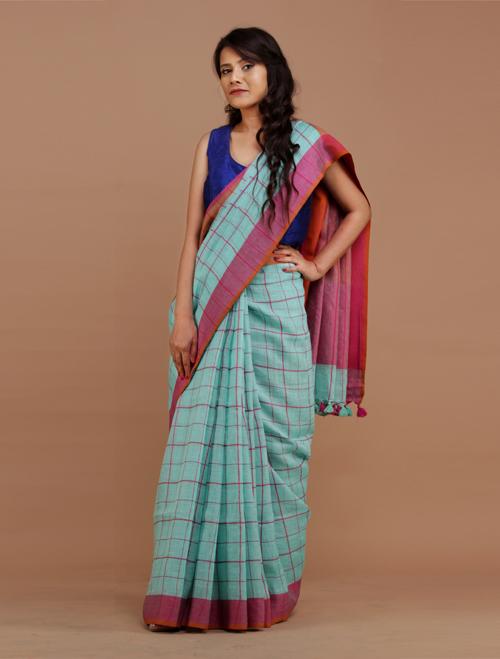 Light Blue Checkered Linen Saree