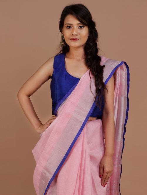 Light Pink Cotton Blend Linen Saree