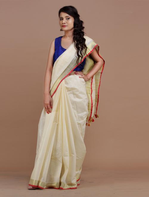 Off White cotton mixed Linen Saree