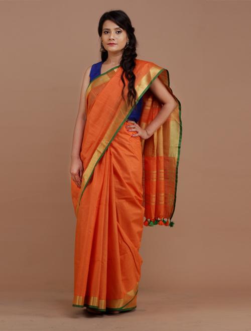 Orange With Gold Zari Border cotton mixe...