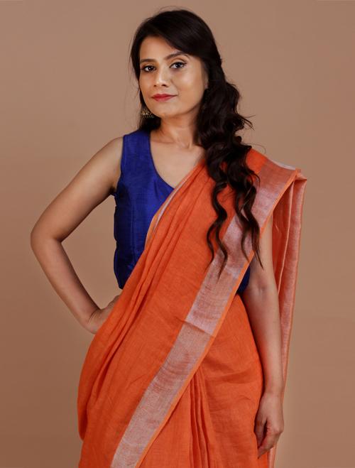 Orange With Silver Zari Border Linen Sar...