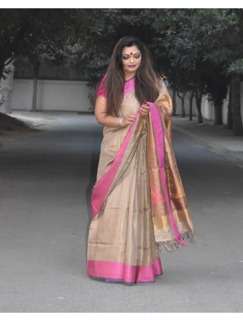 Beige Handloom Tussar Silk Saree