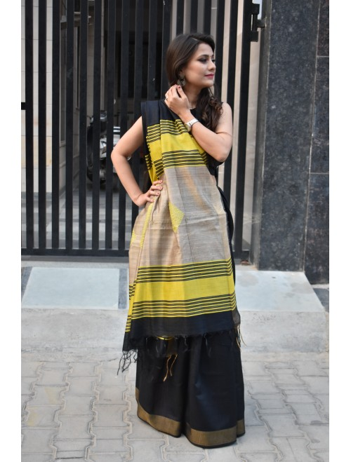Black Handloom Tussar Silk Saree