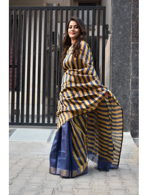 Blue stripe Handloom Tussar Silk Saree