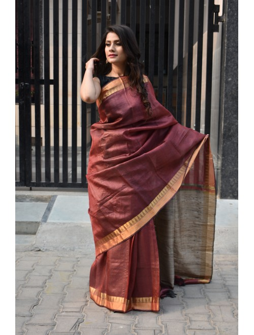 Brown Zari Handloom Tussar Silk Saree