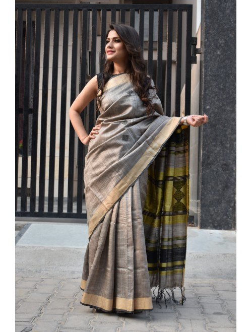 Grey Zari Handloom Tussar Silk Saree