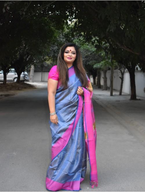 Blue Pink Handloom Tussar silk saree