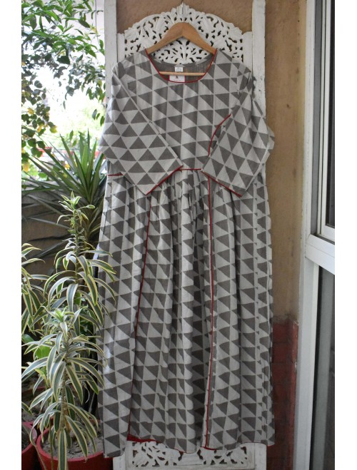 Grey Ikkat Handblock Printed Maxi- Dress
