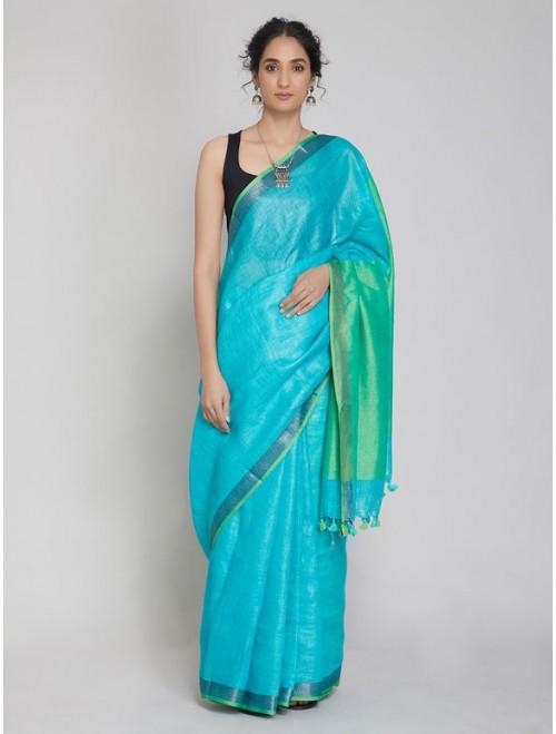 Blue Green Linen Saree