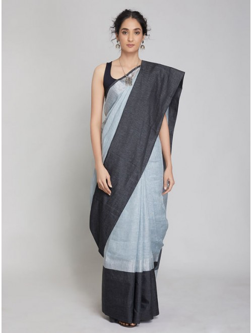 Antra Light Grey Black Zari Linen Saree