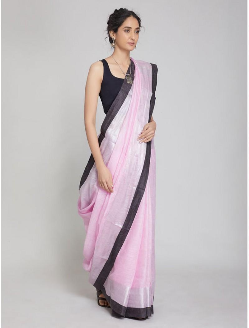 Pink Zari Linen Saree