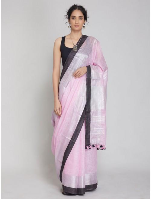 Antra Pink Zari Linen Saree