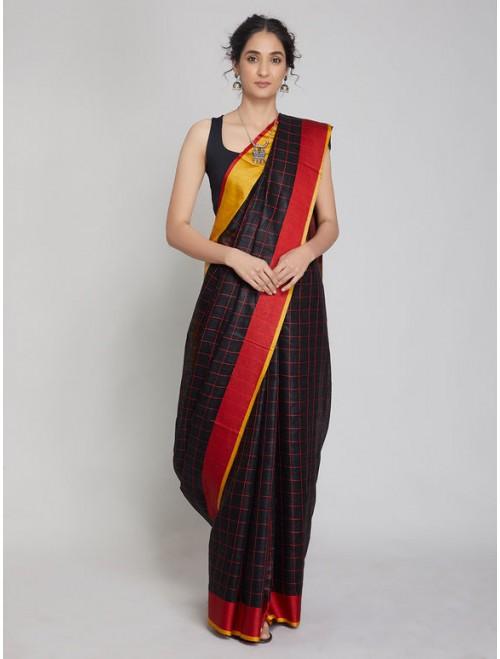 Black Red Checkered Linen Saree