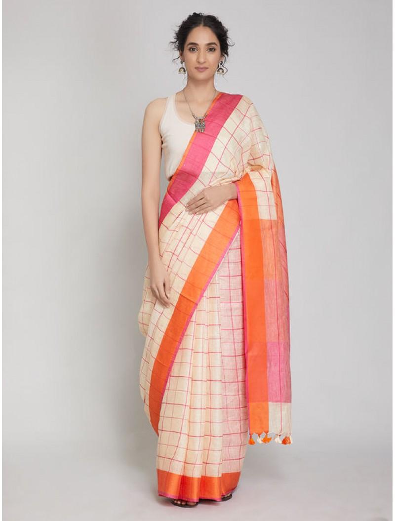 Off White Pink Checkered Linen Saree