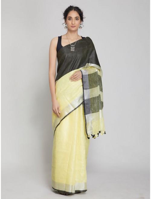 Antra Light Yellow Black Linen Saree