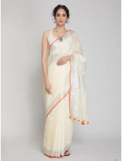 Antra Off White Linen Saree