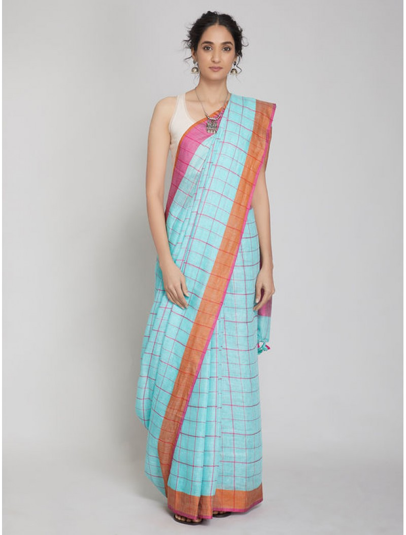 Blue Checkered Linen Saree