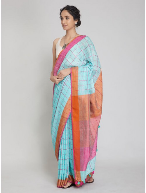 Blue Checkered Linen Saree