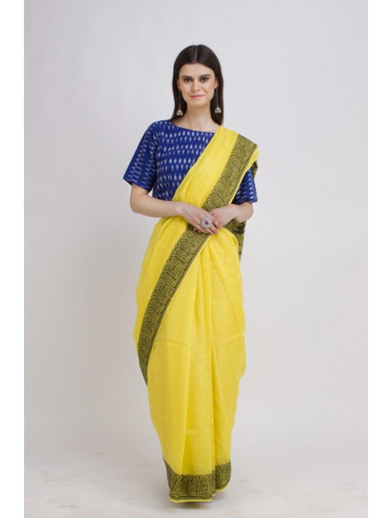 Jamdani Yellow Madhubani Woven Linen Saree