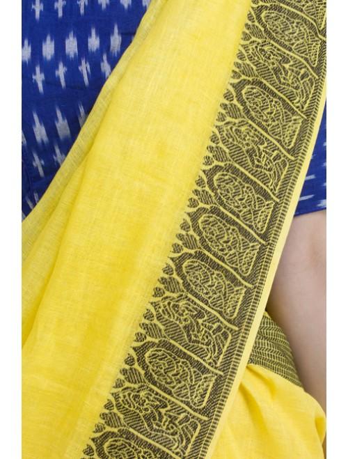 Jamdani Yellow Madhubani Woven Linen Sar...