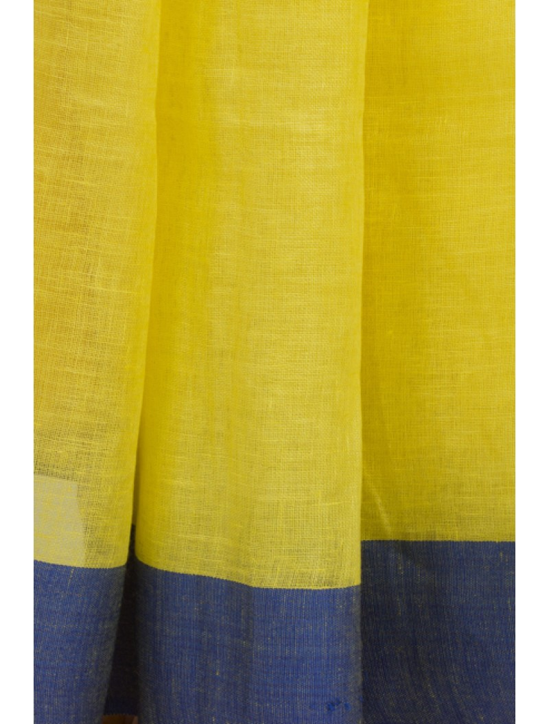 Yellow Blue Linen Saree