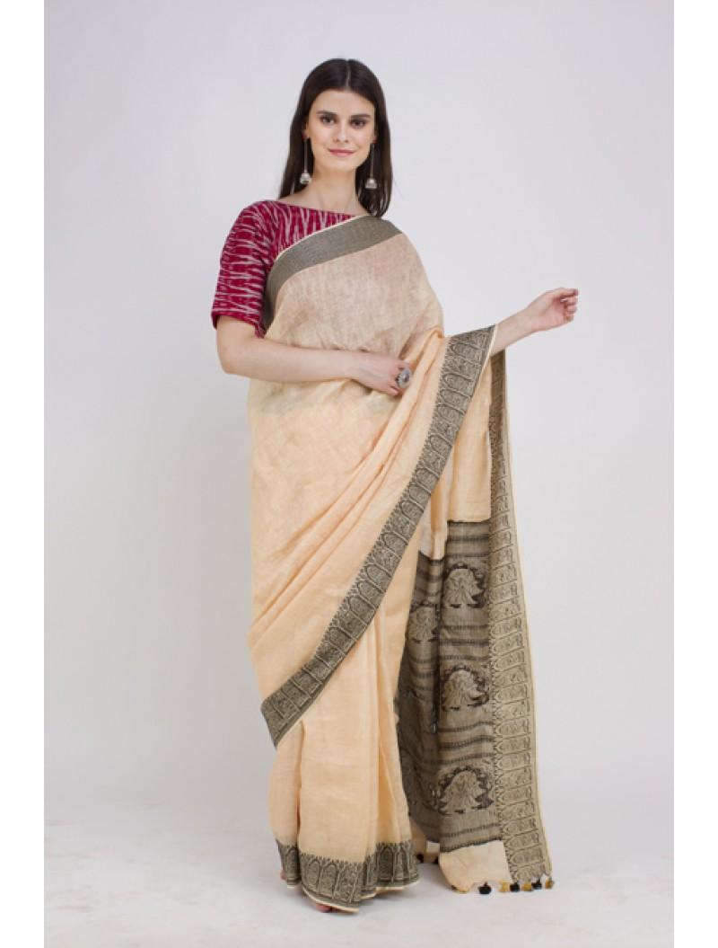 Beige Jamdani Weave Linen Saree