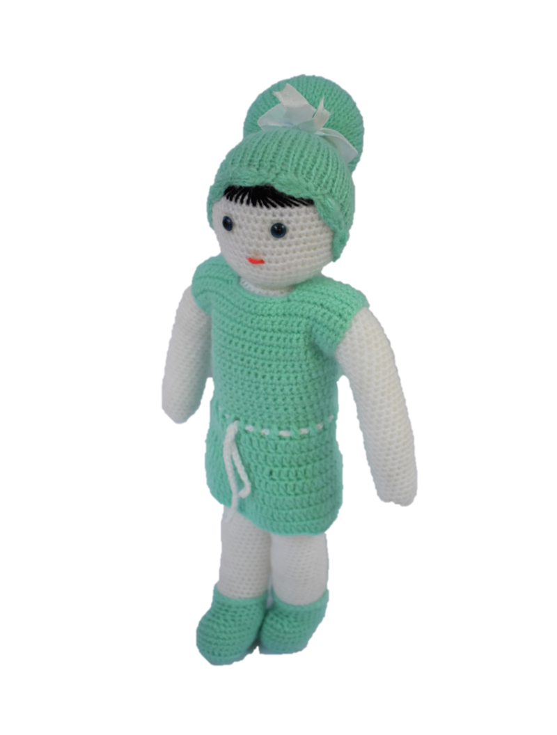 Handmade Crochet Doll- Green